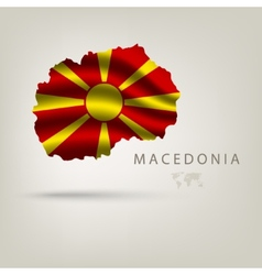 Flag of macedonia as a country with a shadow vector