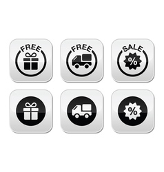 Free gift free delivery sale buttons set vector image vector image