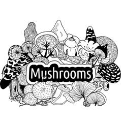 mushrooms3 vector image vector image