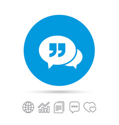 Chat quote sign icon quotation mark symbol vector