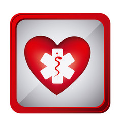Colorful frame square button with heart health vector