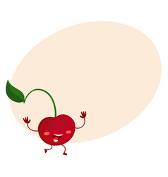 cute and funny comic style cherry character vector image