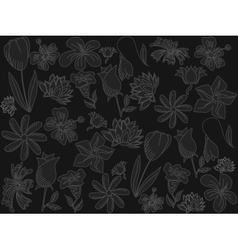 Flowers chalk vector image