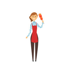hotel maid standing and holding dust brush vector image vector image