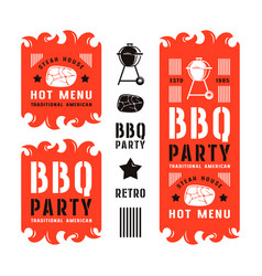 set of barbecue labels and flyers vector image vector image