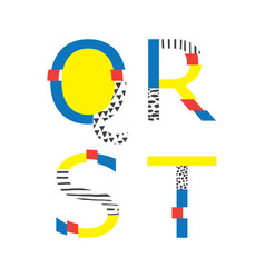set with abc letters q r s and t in vector image