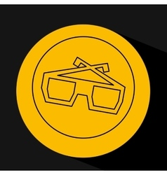 silhouette head concept cinema glasses vector image vector image