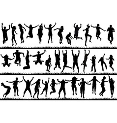 Young people and children jumping vector image