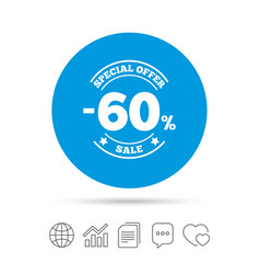 60 percent discount sign icon sale symbol vector