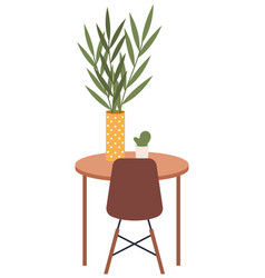 a small table with houseplant in vase potted vector image