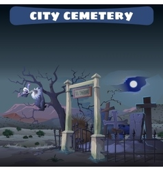Abandoned cemetery in desert and guard gryphon vector
