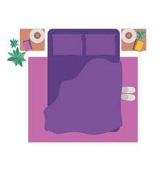 aerial view of room with bed isolated icon vector image