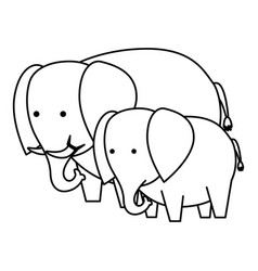 african elephants family wild characters vector image