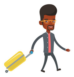 african man walking with suitcase vector image