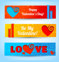 Amorous abstract horizontal banners vector
