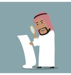 Arabian businessman reading big contract vector