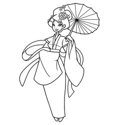 asian girl line art vector image