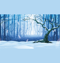background landscape with winter forest vector image
