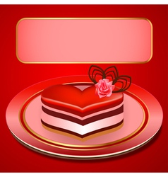 background with a cake in the shape of heart vector image