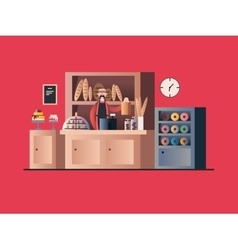 Bakery interior with seller vector image