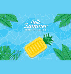 beautiful hello summer background with pineapple vector image