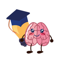 brain cartoon education vector image