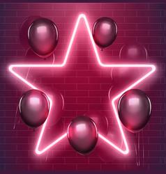 bright disco design neon star with black vector image