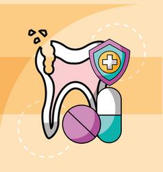 Broken tooth and capsule pills medication dental vector