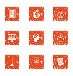 Business wandering icons set grunge style vector
