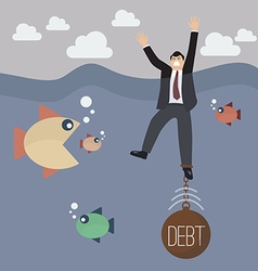 Businessman get drowned because debt weigh vector image vector image