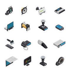 Car electronics isometric icons vector