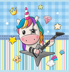 cartoon rock unicorn with a guitar on a blue vector image