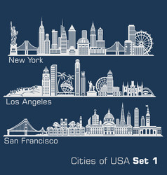 Cities usa - new york los angeles san vector