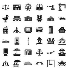 City architecture icons set simple style vector