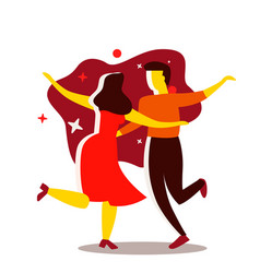 couple dancing dance party concept cartoon vector image