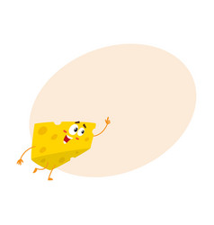Cute and funny cheese chunk character pointing up vector