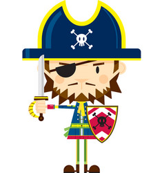 Cute cartoon pirate captain wearing eye patch vector