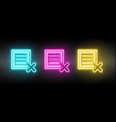 Delete ecommerce box neon icon vector