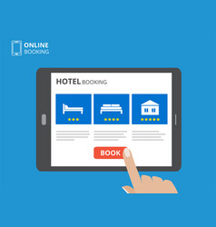 Design concept of hotel booking online tablet vector
