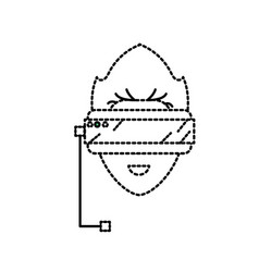 Dotted shape boy face with 3d glasses to dimension vector