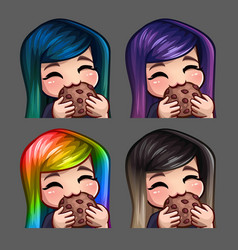 Emotion icons happy female eat cookie vector