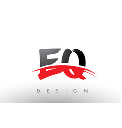 Eq e q brush logo letters with red and black vector