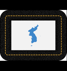 Flag of united korea icon on black leather vector