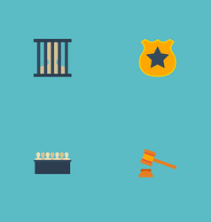 Flat icons officer emblem judge gavel jury and vector