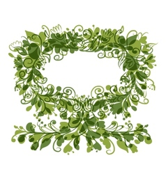 Floral tree green with frame for your text vector image