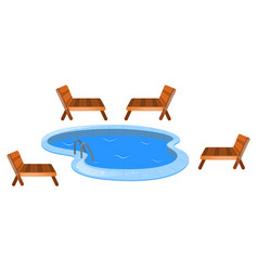 Four seats around swimming pool vector