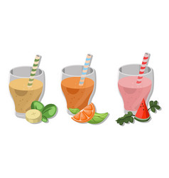 Fresh smoothies drinks cocktails banana orange vector
