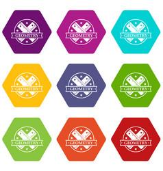 Geometry icons set 9 vector