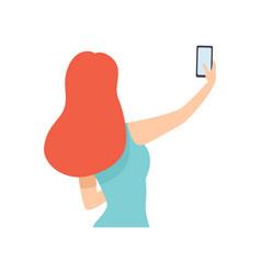 girl taking selfie photo on smartphone young vector image