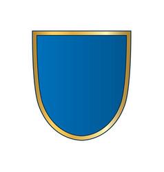 gold-blue shield shape icon bright logo emblem vector image